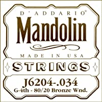 D'Addario J6204 - Cuerda para mandolina de bronce.034