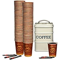 High Quality Disposable Hot Paper Cups for Coffee, Tea and Hot Drinks 10oz (284ml) - Pack of 100