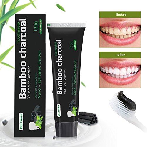 Aktivkohle Aufhellung Zahnpasta, Auffrischung Schwarz Zahnpasta mit Bambuskohle und Pfefferminz-Extrakt, 120g - Pfefferminze Whitening Zahnpasta