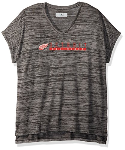 Flügel V-neck Tee (Levelwear NHL Boston Bruins Erwachsene Frauen Mist Over The Line Active V-Neck Tee, Damen, Mist Over The Line Active V-Neck Tee, Heather Pebble, X-Large)