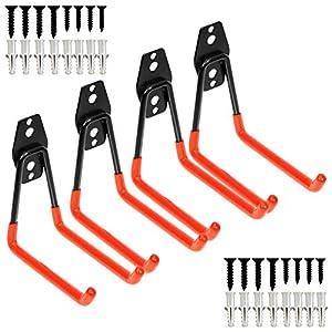 Garage schwere Stahl Utility Haken, Wandhalterung Speicherorganisator Werkzeughalter mit Anti-Rutsch-Beschichtung (4…