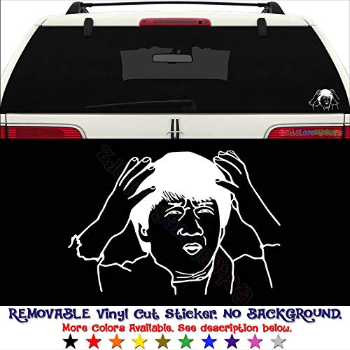 Jackie Chan Brain Full of FCUK Internet Meme PERMANENT Vinyl Decal Sticker for Laptop Tablet Helmet Windows Wall Decor Car Truck Motorcycle - Size (07 Inch / 18 cm Wide) - Color (Gloss Black)
