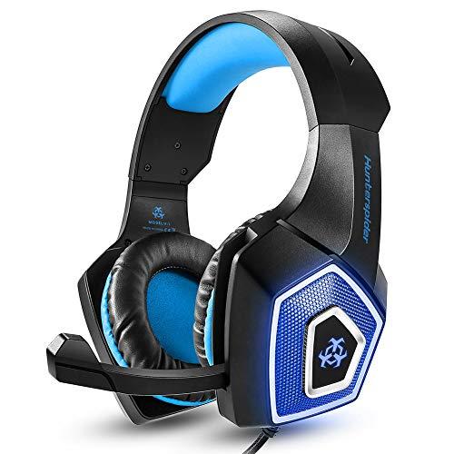 Gaming Headset RGB beleuchteter Computer Kopfhörer Kabelgebundene Ohrhörer Subwoofer Headset E-Sports Zubehör Sound Erweiterung Ausrüstung mit Mikrofon für PC,Smart Phones,Tablets (Blau)
