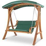 Blumfeldt Maui • Hollywoodschaukel • Hängesessel • Gartenschaukel • Sitzfläche: 110 cm • bis max. 250 kg • Lärchenholz • Weichholz • witterungsbeständig • mitschwingendes Sonnendach • Edelstahl-Ketten mit Karabinerhaken • 4 cm Polyester Sitz-Kissen • grün