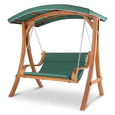 Blumfeldt Tahiti - Balancelle de jardin en bois massif de mélèze - surface d'assise 2 places de 110cm, rembourrage de 4cm, supporte jusqu'à 250kg - voile d'ombrage