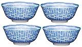 Kitchen Craft Fußschalen mit Fliesenmuster, Keramik, Blau, 15.5 x 15.5 x 7.5 cm, 4-Einheiten