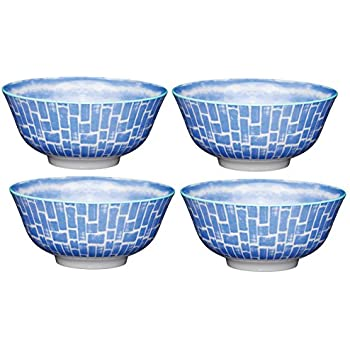 15.5/x 15.5/x 7.5/cm 15.5/cm Set da 4/Pezzi Kitchencraft Footed Tile-Patterned Ciotole Verde 15,2/cm in Ceramica