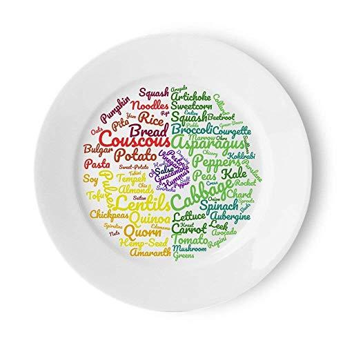 Vegan Plato de alimentación saludable | Secciones fáciles de diseñar bellamente para seguir una dieta vegetariana o vegana | Plato de comida de 10 pulgadas para ideas de alimentos y control de porciones para pérdida de peso sostenible