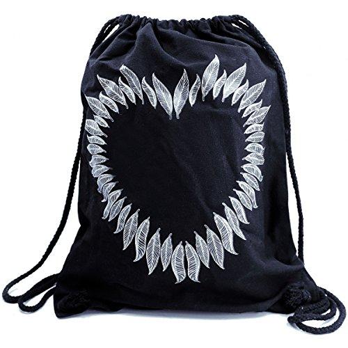 Imagen de premyo bolsa de cuerdas negra 100% algodón con impresión y motivo hermoso.  con cuerdas con impresión corazón de plumas de alta calidad. gymsac con cordón. saco de gimnasio ideal para viajar alternativa