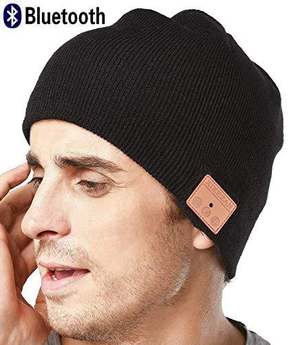 XIKEZAN Drahtlose Bluetooth Beanie-Hut Männer u. Frauen Stricken Winter-Kappe mit eingebauten Stereokopfhörern für Mann-Frauen-Weihnachtsgeschenke (Black)