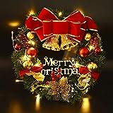 Coxeer Weihnachtskranz, Türkranz Weihnachten Weihnachtsdeko Kranz Weihnachtsgirlande mit Kugeln Handarbeit Weihnachten Garland Deko-Kranz (Mehrfarbig-Bell)