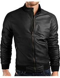 Grin&Bear coup slim veste en cuir faux homme cardigan pull, AK27