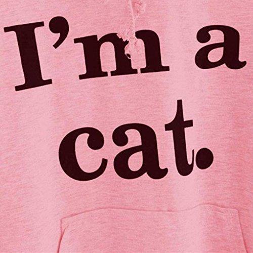 Felpe Donna Yanhoo Donna gatto manica lunga Felpa con cappuccio pullover top camicetta Rosa