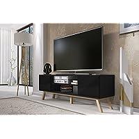 Mobile Porta TV//Mobiletto Porta TV Moderno 150 cm, Nero Opaco//Pannelli Frontali Nero Lucido Vero Wood