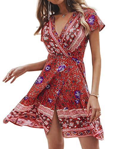 Style Dome Femme Mini Robe Casual Imprimée Floral Robe d'été Boho Bretelles Sexy Robe de Plage Robe de Soirée