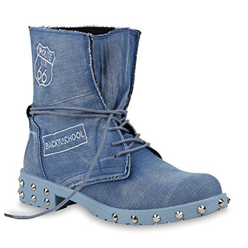 Denim Fashion Stiefel (Stiefelparadies Damen Stiefeletten Schnürstiefeletten Denim Schuhe Nieten Derbe Boots Prints Schnürboots 154010 Hellblau Carlton 38 Flandell)