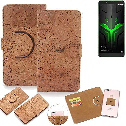 K-S-Trade Schutz Hülle für Xiaomi Blackshark Helo Handyhülle Kork Handy Tasche Korkhülle Handytasche Wallet Case Walletcase Schutzhülle Flip Cover Smartphone