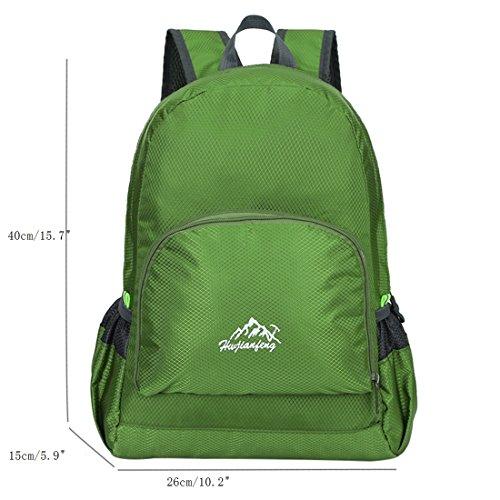 Zaino Leggero Pieghevole - Landove Zaini da Escursionismo Leggeri Impermeabile Trekking Scuola Borsa Sportiva da Viaggio per Bici Campeggio Outdoor Alpinismo verde scuro