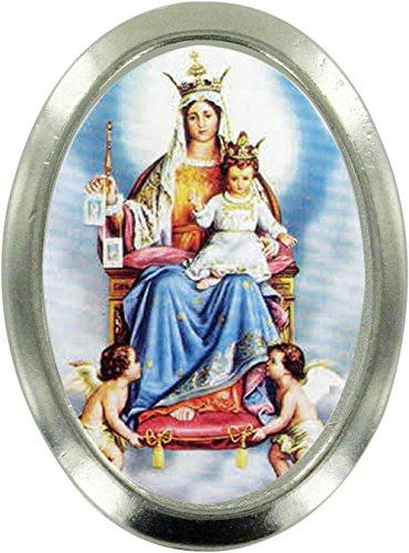 Ferrari & Arrighetti Imán Virgen del Carmen de Metal niquelado con Forma Ovalada