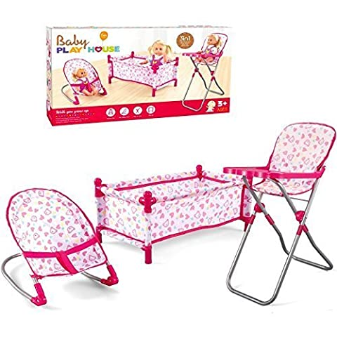 Childrens Kids Deluxe 3 in 1 Baby Dolls Folding Cot