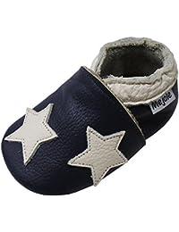 Mejale Krabbelschuhe Lauflernschuhe Lederpuschen Baby Hausschuhe Sterne Gr 18-27