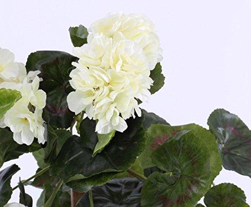 Kunstblume Geranie hängend mit 22 weißen Blüten und 128 Blätter, 70cm – Kunstpflanze künstliche Blumen Kunstblumen Blumensträuße künstlich, Seidenblumen oder Blumen aus