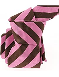 Clj Charles Le Jeune - Cravate Clj, Rugby Large Marron Et Rose