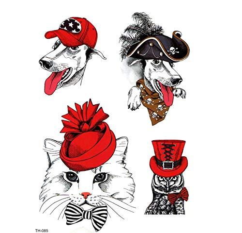 ruofengpuzi 4Pcs Piraten-Hund Und Katze Lady Wasserdicht Temporäre Tätowierung Herren Beauty Tier Temporary Tattoo Frauen Tattoo-Aufkleber