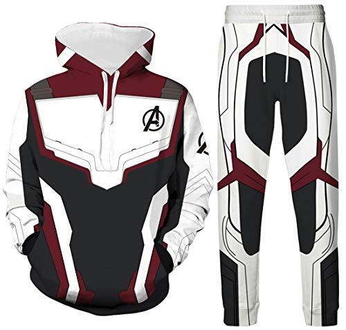Ironman Kostüm Cosplay - OLIPHEE Cosplay Kostüme Quantum Realm Superhero Bekleidungsets Top mit Lange Hose Streetwear Hoodie Weinrot EU M(Etikett L)