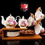 LIUQIAN Tazas Cafe Juego de café 15 Piezas de Juego de café de cerámica Juego de té Europeo de la Tarde en inglés Juego de café de té de Flores
