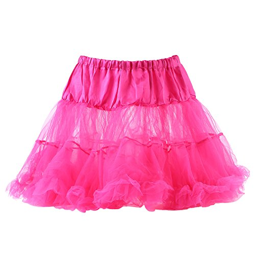 UTOVME Damen Rock 4 Layer Petticoat Unterrock Tüll Tutu Röcke Ballett Puff Rock für Tanz Party Bühnen Kostüm Show Cosplay, Rose