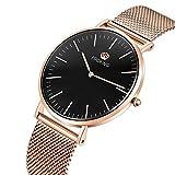 Herren Uhren, PROKING Mode Ultra Thin Wasserdichte Business Casual Rose Gold Edelstahl Armbanduhr, Saphirglas Uhren für Männer Mit Freies Echtes Lederband (Schwarz)