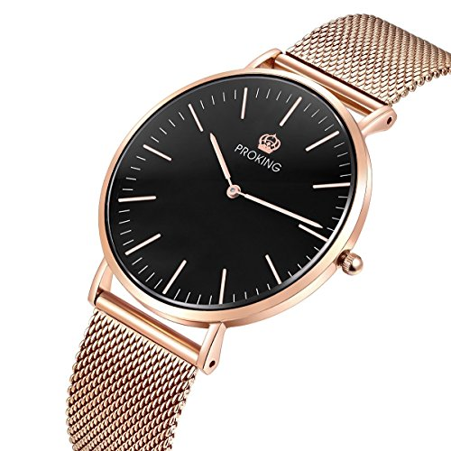 Relojes para Mujeres, PROKING Relojes de Cuarzo Analógico Ultradelgados de Moda Oro Rosa, Elegante Reloj de Acero Inoxidable de Cristal de Zafiro para Señora(Negro)