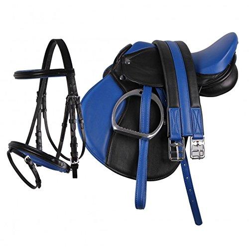 "QHP Pony Sattel-Set Leder Sattel 13\"" Sattelgurt Steigbügel + kombinierte Trense (schwarz-blau)"