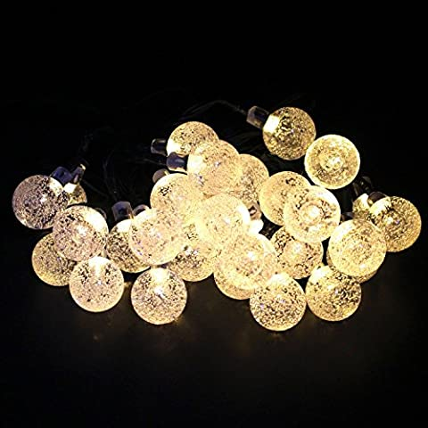 Solar String Lights, Almondcy 19.7ft 30 LED Waterproof Outdoor String Lights Solar Powered Globe String Lights for Garden, Yard, Home, Halloween Christmas Party Warm White