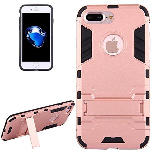 Hülle für iPhone 7 plus , Schutzhülle Für iPhone 7 Plus Trennbare TPU + PC Kombi-Gehäuse mit Halter ,hülle für iPhone 7 plus , case for iphone 7 plus ( Color : Silver ) Rose gold