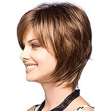 Meylee Pelucas Mezcla marrón natural rubio recta corta peluca para mujer de moda las pelucas