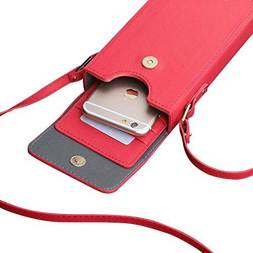 GrandeVendita -40%Off- Woolala Crossbody Borsa Cellulare Portafoglio Borsa Pu Pelle Con Porta Carte Staccabile Rose