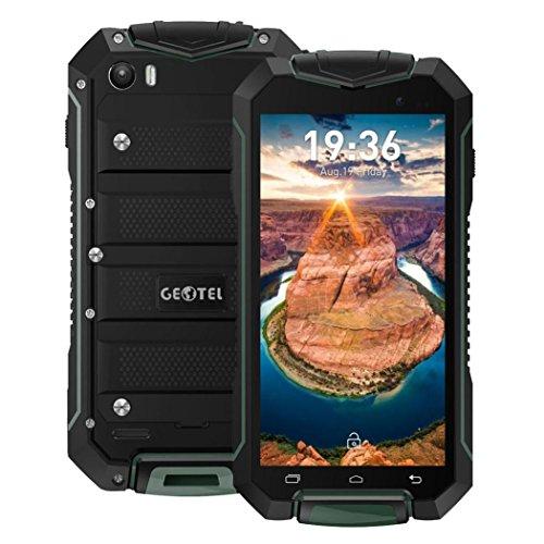 QHJ Dual SIM écran Outdoor Housse (3400mAh), 4,5pouces, mémoire 8Go, IP67étanche, anti-chocs Rugged Téléphone portable sans contrat avec haut-parleur fort, Armeegrün