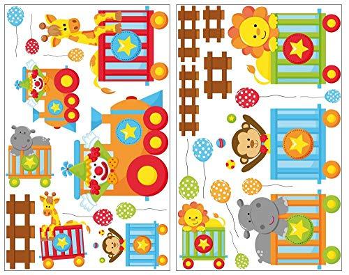 Per treno adesivo da parete animali giraffa adesivi da parete leone cameretta bambini, 27 pezzi, multicolore, 2x 16x26cm