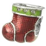 925Sterling Silber Weihnachten Geschenk Geschenk Santa Claus rot Socke Emaille Kristall klar Perle für europäische Charm Armband