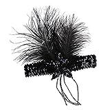 Sharplace Bandeau Cheveux à Plume Paillette Flapper Vintage Cabaret Accessoire Noir