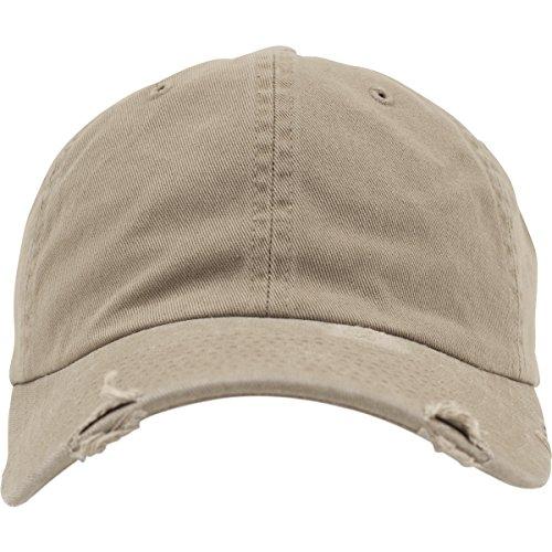 Flexfit Low Profile Destroyed Caps, Khaki, one Size -