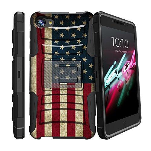 Alcatel A50zweilagige Case| Alcatel Crave | Alcatel Pulse | pulsemix Camouflage Telefon Fall [Clip Armor], schlagfestem beständig Fall w/Clip + Integrierter Ständer, American Flag USA American Flag-handy-fall