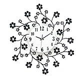 Creative Light- Moderne Mute Wanduhr Mode Home Metall Kristall Blume Wanduhr Wohnzimmer Uhr