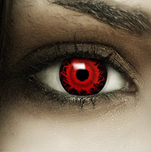 """Farbige rote Kontaktlinsen """"Cataclysm"""" + Kunstblut Kapseln + Behälter von FXCONTACTS®, weich, ohne Stärke als 2er Pack - perfekt zu Halloween, Karneval, Fasching oder Fasnacht"""