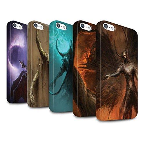 Offiziell Chris Cold Hülle / Matte Snap-On Case für Apple iPhone 5/5S / Pack 10pcs Muster / Dunkle Kunst Dämon Kollektion Pack 10pcs