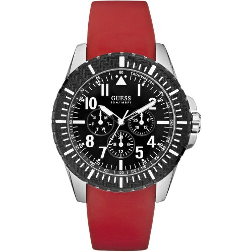 Guess W90077G1 Unisex Quartz Chronograph Watch with Rubber Strap – Red