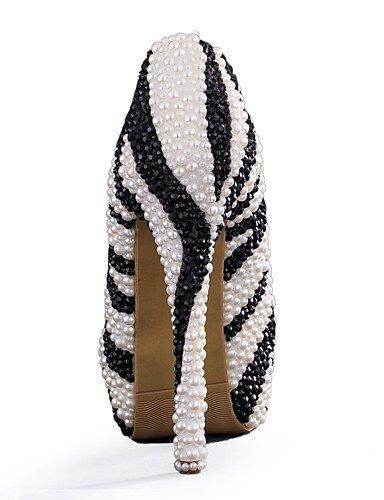 WSS 2016 chaussures talon aiguille talons talons mariage / fête des femmes&soirée / robe noire et blanche 5in & over-black and white