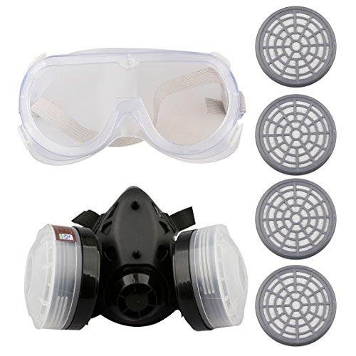 A-SZCXTOP Respirador Doble Cartucho Anti - Polvo Mascara con Gafas y 4